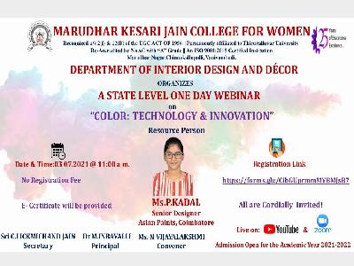 Interior Design and Decor-State Level Webinar Color: Technology and Innovation,03-07-2021