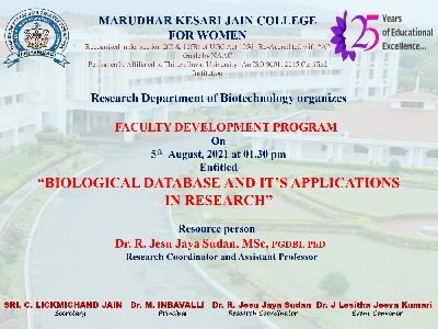 BioTechnology - Faculty Development Program  on Biological Database and It's Applications in Research,5.8.2021
