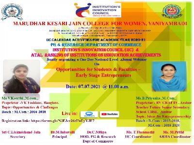 Commerce -One Day National Alumni Webinar on Opportunities for Students & Faculties- Early Stage Entrepreneurs,07-07-2021