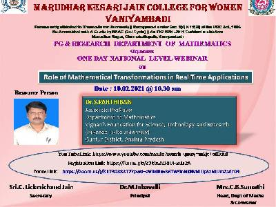 Mathematics - National Level Webinar on Role of Mathematical Transformations in Real Time Applications
