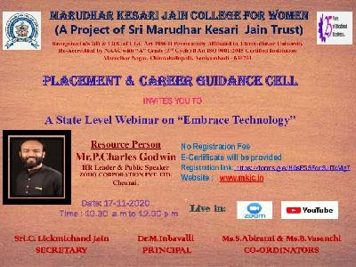 Placement & Career Guidance Cell - State Level Webinar on Embrace Technology,17.11.2020
