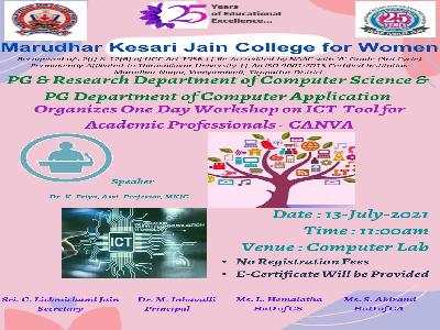Computer Science and Computer applications - workshop on ICT Tools for Academic Professional - CANVA,13.7.2021