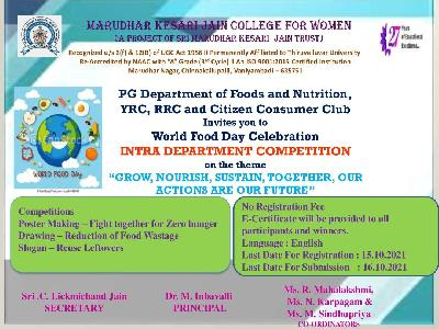 Foods and Nutrition, YRC, RRC and Citizen Consumer Club - World Food Day Celebration -Intra Department Competition On The Theme