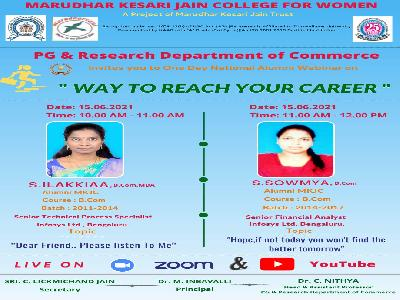Commerce - National Alumni Webinar on Way to Reach Your Career,15.6.2021