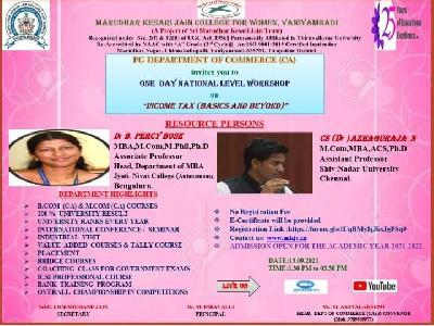 """Commerce(CA) -National Level Workshop on """"Income Tax ( Basics and Beyond)"""