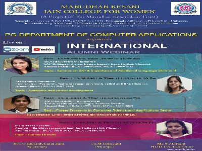 Computer Applications -Two days International Alumni Webinar on Journey on SAP & importance of Additional Language Skills in IT,Academic and career development,19.6.2021 and 21.6.2021