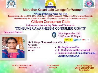 """Citizen Consumer Club - State Level Webinar on """"Consumer Awareness and Consumer Rights"""" -20-09-2021"""