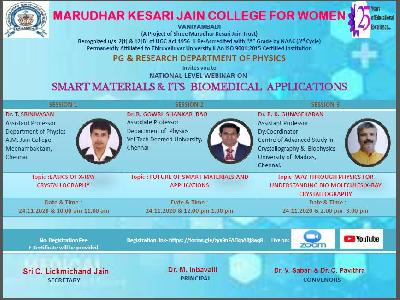 PG and Research Department of Physics - National Level Webinar on Smart Materials & it's Bio Medical Applications,24.11.2020