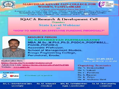 """IQAC and Research & Development Cell - State Level Webinar on  """" How to Write an Effective Funding Proposal?"""