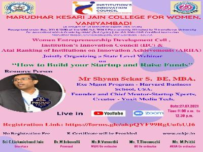 Women Entrepreneurship Development Cell, Institution's Innovation Council & ATAL Ranking of Institutions of Innovation Achievements -One Day State Level Webinar on