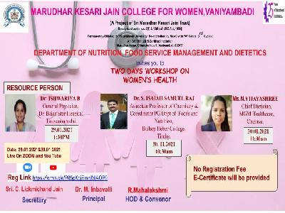 Nutrition, Food Service Management and Dietetics - Two Days Workshop on Women's Health,29-01-2021