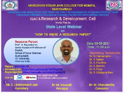 """IQAC & Research and  Development Cell - State Level webinar on """" How to Write a Research Paper?"""